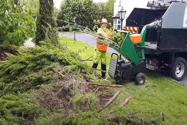 Norman Tree Care worker using a tree chipper machine.